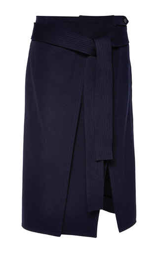 Medium nina ricci blue technical wool and cotton twill skirt