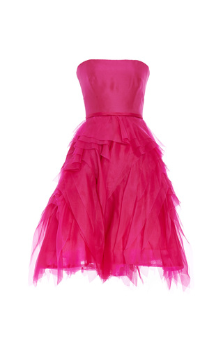 Medium monique lhuillier pink monique lhuillier strapless cocktail dress with raw edge skirt