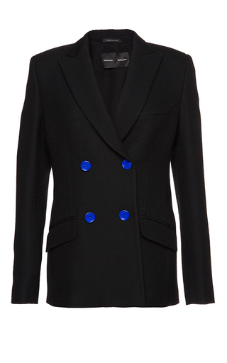 Medium proenza schouler black crepe suiting double breasted blazer 2