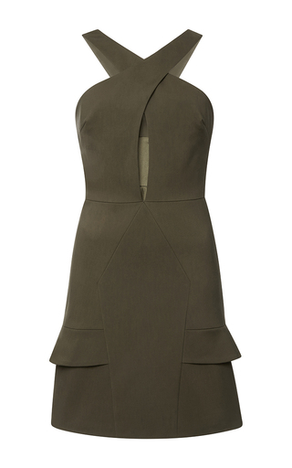 Medium cushnie et ochs green stretch cotton safari green dress 2