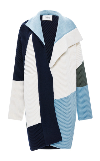 Medium prabal gurung multi chunky knit color block sweater coat 2