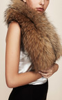 Blonde Racoon Fur Cuff With Leather Trim by CHARLOTTE SIMONE Now Available on Moda Operandi