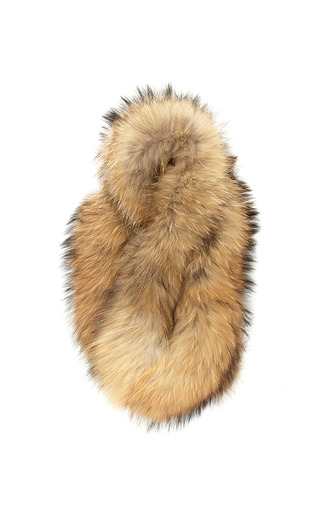 Medium charlotte simone brown blonde racoon fur cuff with leather trim