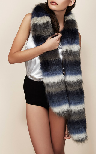 Striped Faux Fur Stole In Blue And White by CHARLOTTE SIMONE Now Available on Moda Operandi