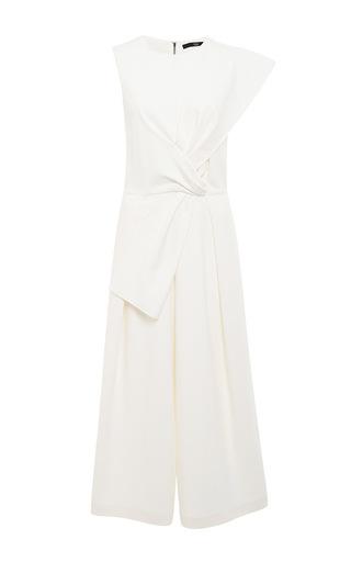 Medium tibi white cotton blend agathe bow jumpsuit