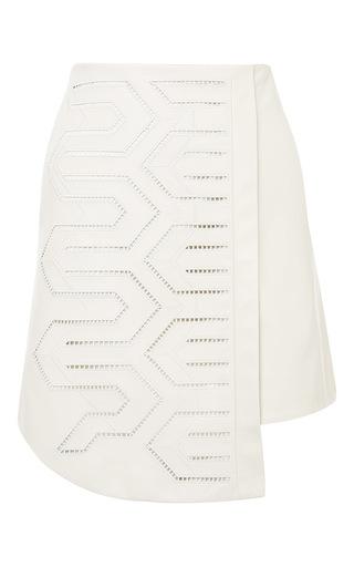 Medium tibi white embroidered leather asymmetric skirt