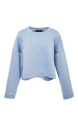 Medium tibi blue luxe double faced oversized crop sweatshirt