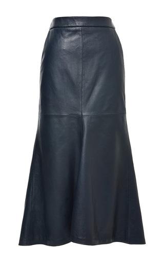 Medium tibi blue leather fluted skirt