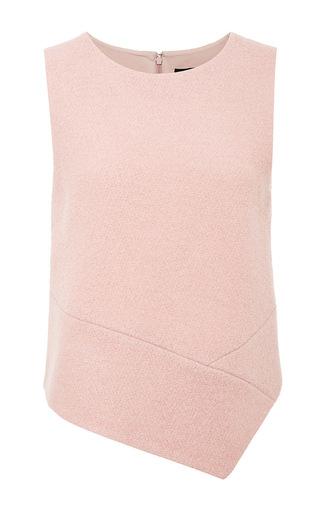 Medium tibi pink plush wool boucle sleeveless top