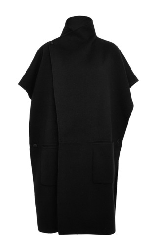 Medium tibi black reversible double faced wool angora coat
