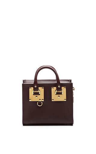 Medium sophie hulme brown box tote bag in oxblood 2