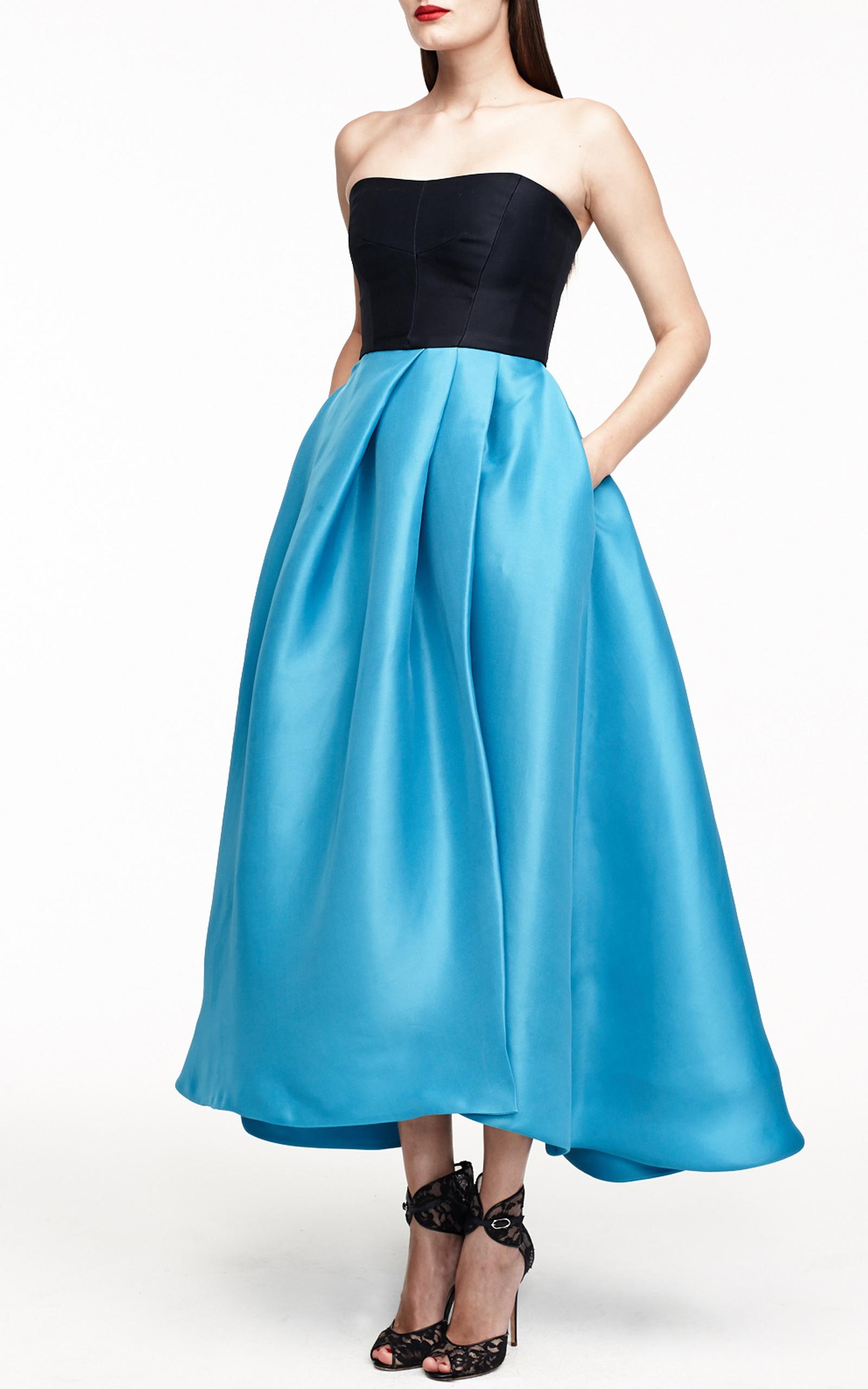 Monique Lhuillier Color-Block Gazar Strapless Dress by Monique ...