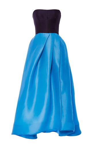 Medium monique lhuillier blue monique lhuillier color block gazar strapless dress