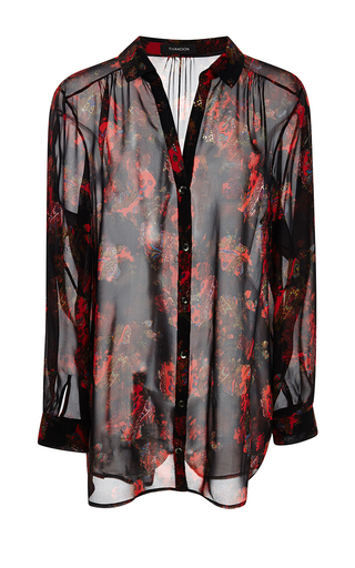 Medium thakoon black bohemian floral georgette draped blouse