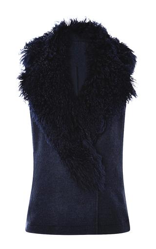 Medium thakoon blue wool coating fur collar vest