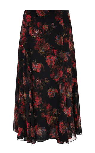 Medium thakoon black bohemian floral georgette skirt