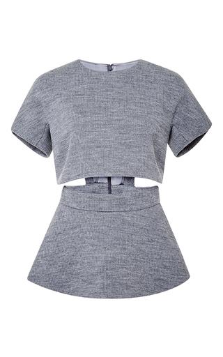 Medium cushnie et ochs dark grey waffle knit slit top