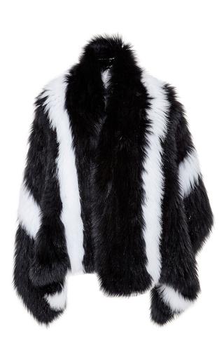 Medium cushnie et ochs black fox fur shawl with large stripes