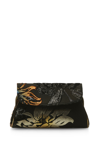 Medium rochas black hand painted velvet jacquard and nigel bag