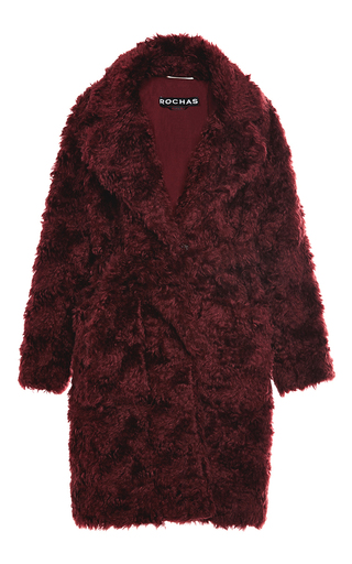 Dark Red Teddy Bear Coat By Rochas Moda Operandi