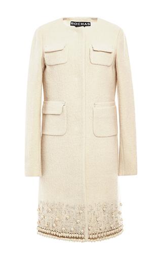 Medium rochas white wool boucle coat with beading