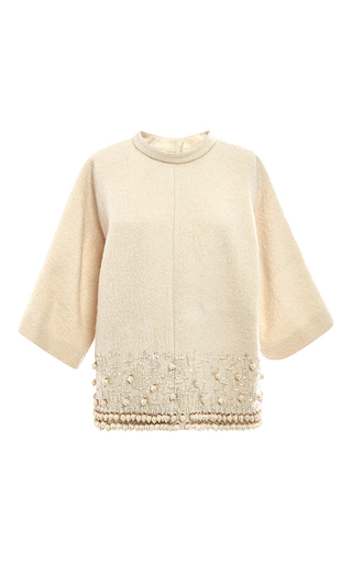 Medium rochas white wool boucle top with beading details