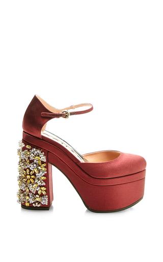 Medium rochas red burgundy platform mary jane with crystal heel
