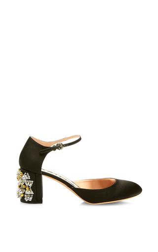 Medium rochas black black mary jane with crystal heel