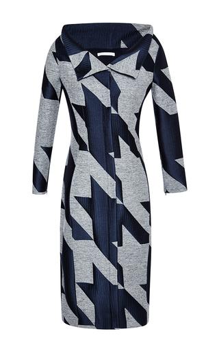 Medium antonio berardi blue electric blue macro houndstooth tweed and satin jacquard dress