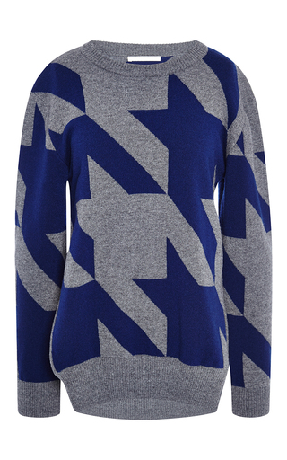 Medium antonio berardi blue merino cashmere houndstooth sweater
