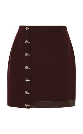 Medium mugler red felted peacoat mini skirt in burgundy