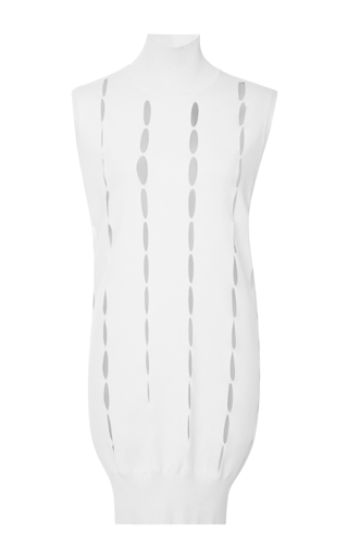 Medium mugler white large cut out sweater dress in natural