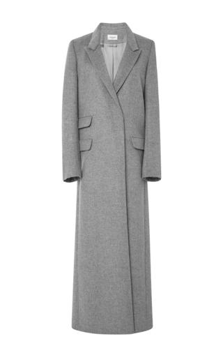 Medium mugler dark grey soft peacoat long coat in heather grey