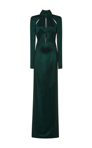 Medium mugler green long sleeve shiny ribs dress in forest