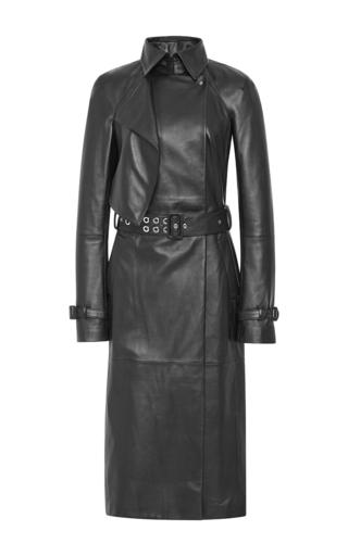 Medium mugler black soft nappa trench coat in black