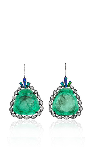 Medium kimberly mcdonald green 18k white gold emerald and opal earrings