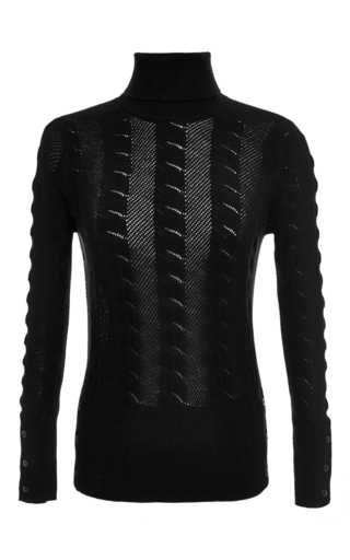 Medium thom browne blue cable lace stitch turtleneck pullover