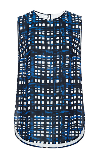 Medium thakoon addition multi painted grid georgette open side tank