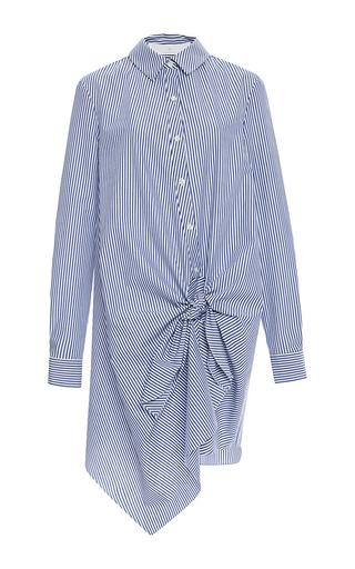 Medium thakoon addition multi striped shirting side tie dress
