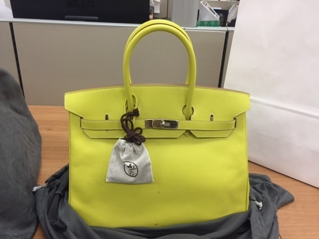 77a42948dcba Hermes Vintage35Cm Limited Edition Lime   Gris Perle Epsom Leather Candy  Collection Birkin Bag With Palladium Hardware