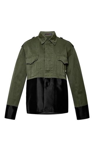 Medium harvey faircloth green olive drab field jacket with wool silk layer