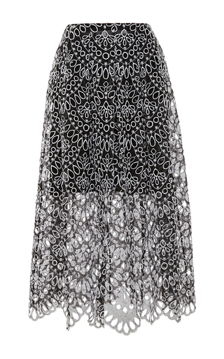 Medium oscar de la renta multi crochet midi skirt
