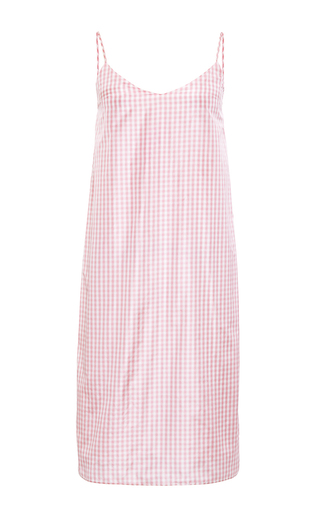 Medium katie ermilio pink small gingham taffeta slip dress