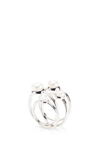Medium eddie borgo silver stackable pearl rings