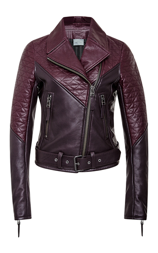 Medium maiyet burgundy two tone quilted motorcycle jacket