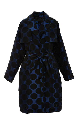 Medium cedric charlier green dotted jacquard trench coat