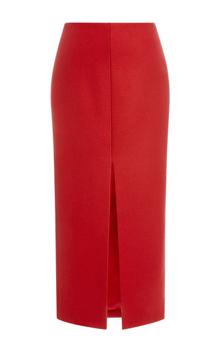 Medium carven red long wool skirt with split