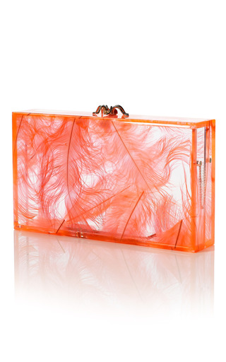 Medium charlotte olympia coral pandora feather clutch