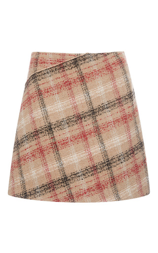 Medium carven print plaid a line mini skirt