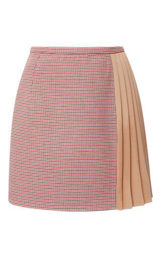 Medium carven print a line mini skirt with pleated crepe panel